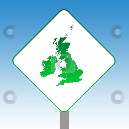 United Kingdom map road sign stock photo, United Kingdom map road sign in green isolated on white with blue sky background. by Martin Crowdy