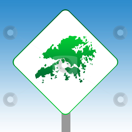 Hong Kong map road sign stock photo, Hong Kong map road sign in green isolated on white with blue sky background. by Martin Crowdy