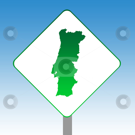 Portugal map road sign stock photo, Portugal map road sign in green isolated on white with blue sky background. by Martin Crowdy