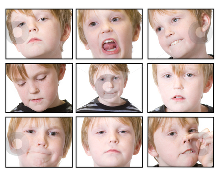 Expressions stock photo, Isolated child with multiple expressions by Sherrie Smith