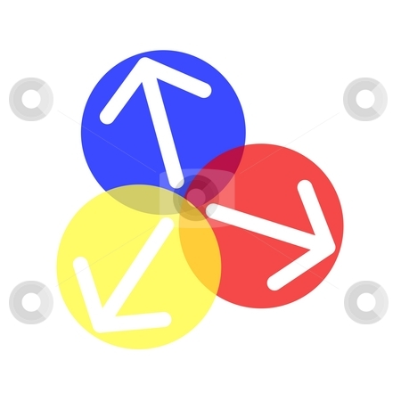 Ball arrows stock photo, Blue yellow red ball with arrow illustration on white background by Henrik Lehnerer
