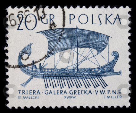 Trireme, ancient Greek warship stock photo, POLAND, circa 1960 - trireme, ancient Greek warship with three rows of oars, on a vintage canceled post stamp, blue drawing on white by Marek Uliasz