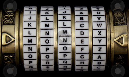 Money as a password stock photo, Word money set as a password in combination puzzle box (cryptex) with rings of letters by Marek Uliasz