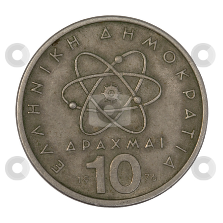 Scientific model of atom on old Greek coin stock photo, Scientific model or symbol of atom schematically represented on old circulated 10 drachma Greek coin from 1976, isolated on white with clipping path by Marek Uliasz