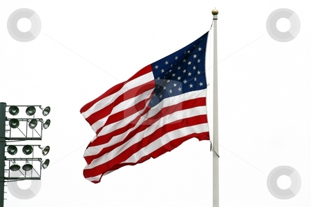 American Flag with stadium lights stock photo, An image of the  American Flag with stadium lights by Jim Mills