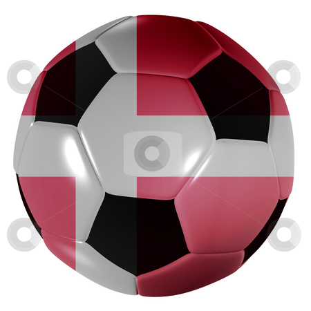Football Danish stock photo, Traditional black and white soccer ball or football with danish flag by Michael Travers