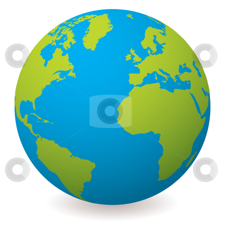 Natural earth globe stock vector clipart, Illustrated earth globe in realistic land and ocean colours by Michael Travers