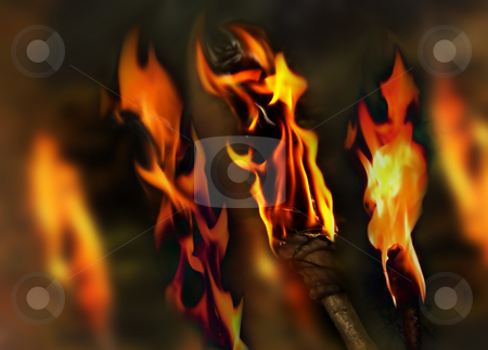 Flaming background stock photo, Background of burning torches by Anneke