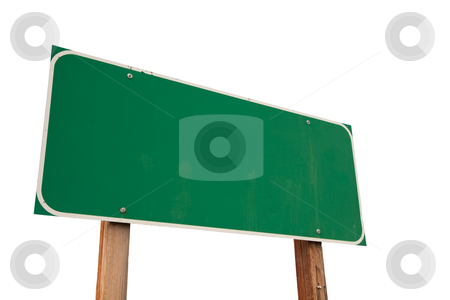 Blank Green Road Sign on White stock photo, Blank Green Road Sign Isolated on a White Background - Ready for your own message. by Andy Dean