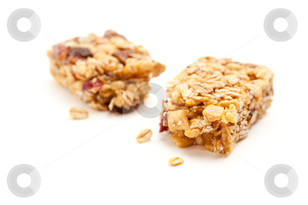 Broken Granola Bar Isolated on White stock photo, Broken Granola Bar Isolated on a White Background with Narrow Depth of Field. by Andy Dean