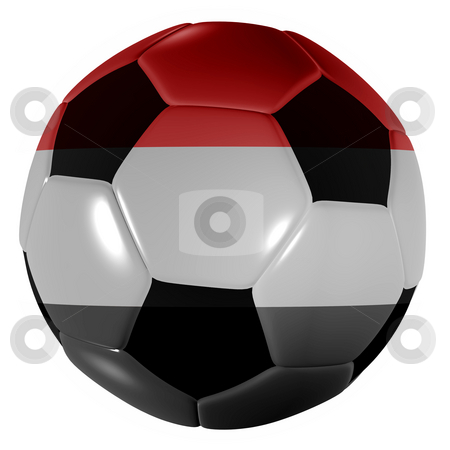 Football yemen stock photo, Traditional black and white soccer ball or football yemen by Michael Travers