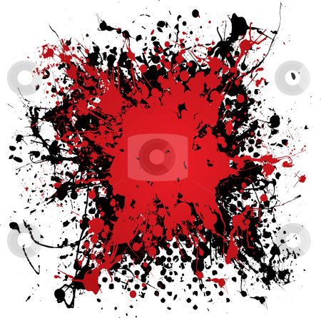 Ink blood splat grunge stock photo, Blood red ink splat with black paint and grunge effect by Michael Travers