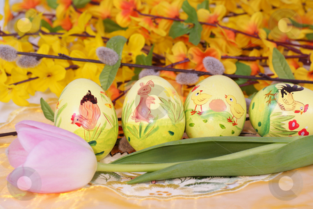 Easter eggs stock photo, colourful easter eggs with tulip on flower background by Jolanta Dabrowska