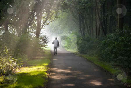 Middle aged man jogging on early morning stock photo, Middle aged man jogging on early summer morning in park - horizontal image by Colette Planken-Kooij