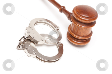 Gavel and Handcuffs on White stock photo, Gavel and Handcuffs Isolated on a White Background. by Andy Dean