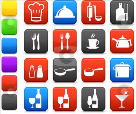 Cooking items internet icon collection stock vector clipart,  by L Belomlinsky