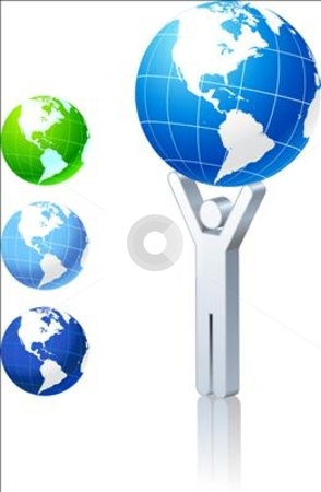 Globe collection with stick figure stock vector clipart, Globe collection with stick figure Original Vector Illustration Globes and Maps Ideal for Business Concepts by L Belomlinsky