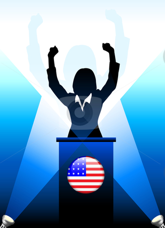 United States Leader Giving Speech on Stage stock vector clipart, United States Leader Giving Speech on Stage Original Vector Illustration by L Belomlinsky