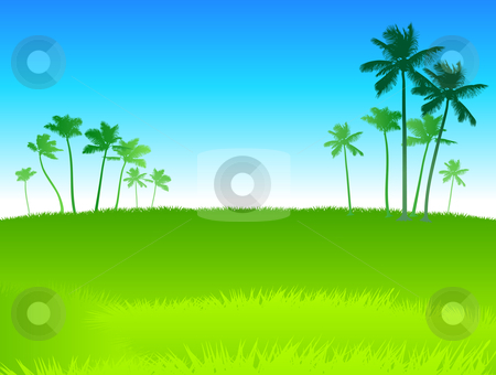 Palm trees green background stock vector clipart, Origianl Vector Illustration: palm trees background File is AI8 compatible by L Belomlinsky