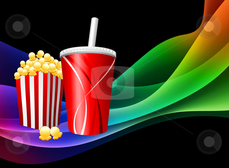 Print stock vector clipart, Popcorn and Soda on Abstract Background Original Vector Illustration by L Belomlinsky