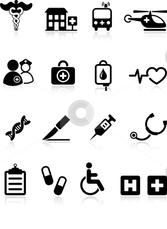 Medical hospital  internet icon collection stock vector clipart, Original vector illustration: medical hospital  internet icon collection by L Belomlinsky