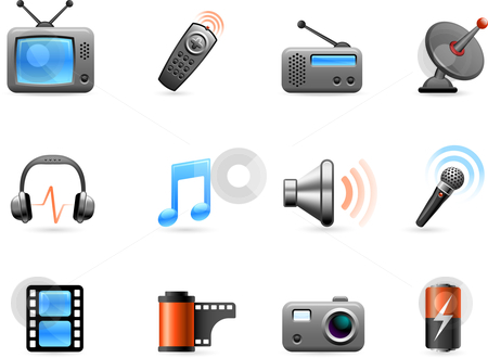 Electronics and Media icon collection stock vector clipart, Original vector illustration: Electronics and Media icon collection by L Belomlinsky