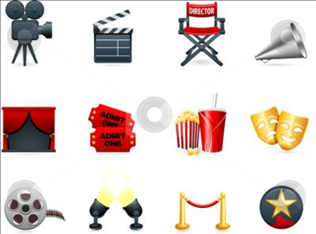 Film and movies industry icon collection stock vector clipart, Original vector illustration: Film and movies industry icon collection by L Belomlinsky