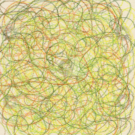 Crayon scribble in spring colors stock photo, Hand-drawn crayon circular scribble in green, red and yellow colors on ivory paper background by Marek Uliasz