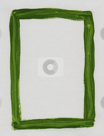 Green frame painted on white canvas stock photo, Hand painted  green watercolor frame (border) surrounding white blank rectangle on artist canvas with a coarse texture by Marek Uliasz