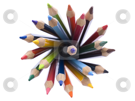 Color pencils stock photo, Top view of assorted color pencils disposed in a circle. by Ignacio Gonzalez Prado