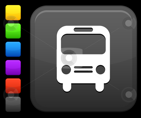 Bus icon on square internet button stock vector clipart, Original vector icon. Six color options included. by L Belomlinsky