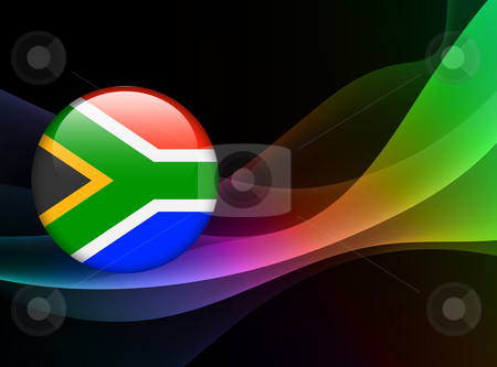 Print stock vector clipart, South African Flag Icon on Internet Button Original Vector Illustration by L Belomlinsky