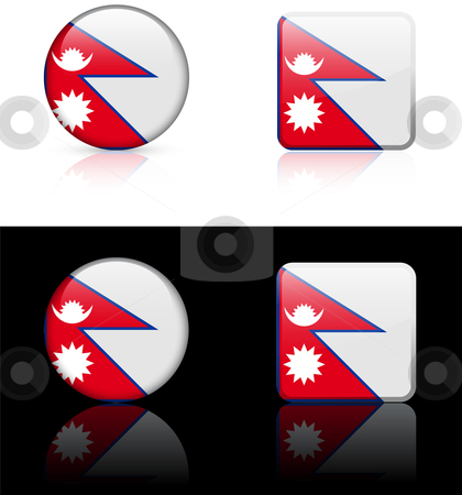 Nepal Flag Buttons on White and Black Background stock vector clipart, Nepal Flag Buttons on White and Black Background Original Vector Illustration AI8 Compatible by L Belomlinsky