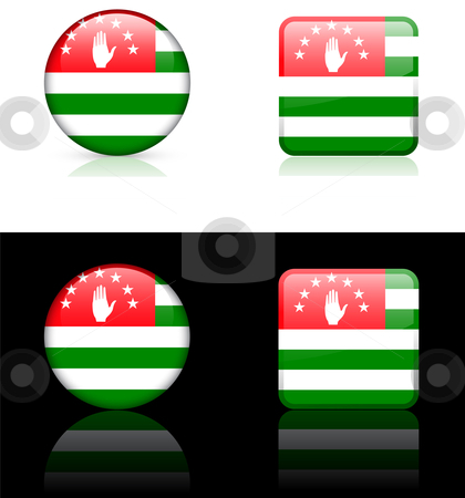 Abkhazia Flag Buttons on White and Black Background stock vector clipart, Abkhazia Flag Buttons on White and Black Background Original Vector Illustration AI8 Compatible by L Belomlinsky