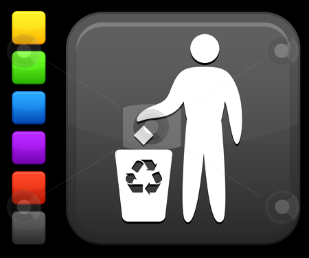Recycling icon on square internet button stock vector clipart, Original vector icon. Six color options included. by L Belomlinsky