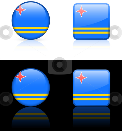 Aruba Flag Buttons on White and Black Background stock vector clipart, Aruba Flag Buttons on White and Black Background Original Vector Illustration AI8 Compatible by L Belomlinsky