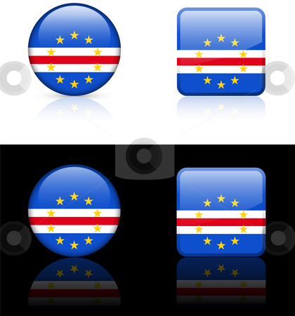 Cape Verde Flag Buttons on White and Black Background stock vector clipart, Cape Verde Flag Buttons on White and Black Background Original Vector Illustration AI8 Compatible by L Belomlinsky