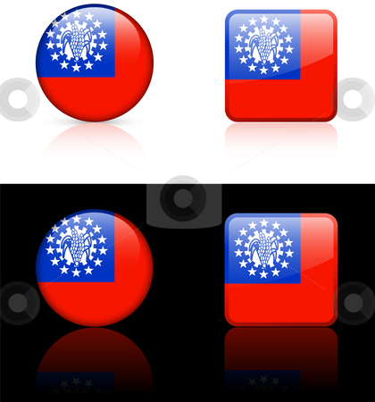 Mayammar Flag Buttons on White and Black Background stock vector clipart, Mayammar Flag Buttons on White and Black Background Original Vector Illustration AI8 Compatible by L Belomlinsky