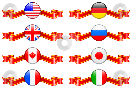 Internet Flag Buttons Collection stock vector clipart, Internet Flag Buttons Collection Original Vector Illustration by L Belomlinsky