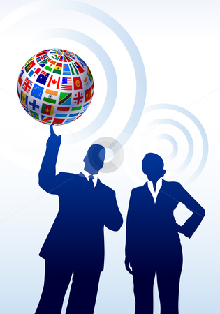 Business Couple with Flags Globe stock vector clipart, Business Couple with Flags Globe Original Vector Illustration by L Belomlinsky