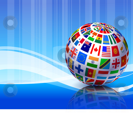 Flags Globe on Blue Abstract Background stock vector clipart, Flags Globe on Blue Abstract Background Original Vector Illustration by L Belomlinsky