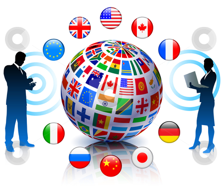 Business Team Communicartion with Flags Globe stock vector clipart, Business Team Communicartion with Flags Globe Original Vector Illustration by L Belomlinsky