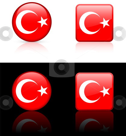 Turkey Flag Buttons on White and Black Background stock vector clipart, Turkey Flag Buttons on White and Black Background Original Vector Illustration AI8 Compatible by L Belomlinsky