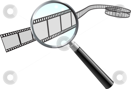 Film Reel under Magnifying Glass stock vector clipart, Film Reel under Magnifying Glass Original Vector Illustration Film Reel Concept by L Belomlinsky