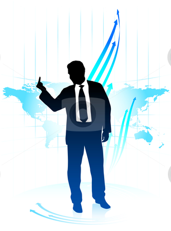 Young business man holding middle finger on world map background stock vector clipart,  by L Belomlinsky