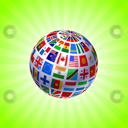 Global flags Original Vector Illustration stock vector clipart, Global flags Original Vector Illustration by L Belomlinsky