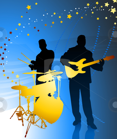 Live Music Band stock vector clipart, Live Music Band Original Vector Illustration by L Belomlinsky