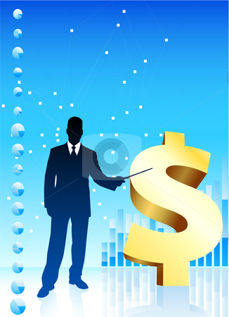 Businessman with Currency Symbol stock vector clipart, Businessman with Currency Symbol Original Vector Illustration Businessmen Concept by L Belomlinsky