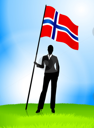 Businesswoman Leader Holding Norway Flag stock vector clipart, Businesswoman Leader Holding Norway Flag Original Vector Illustration AI8 Compatible by L Belomlinsky