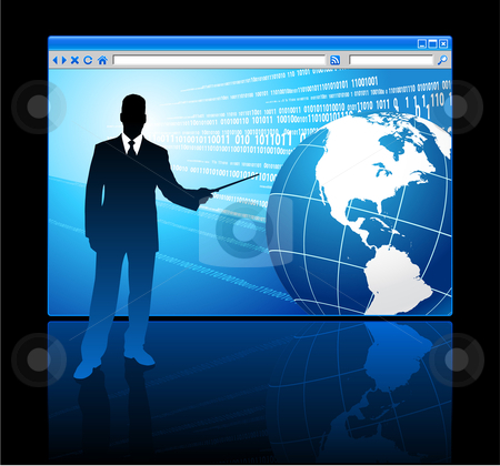 Businessman presenting Internet Browser with Globe stock vector clipart, Businessman presenting Internet Browser with Globe Original Vector Illustration Businessmen Concept by L Belomlinsky